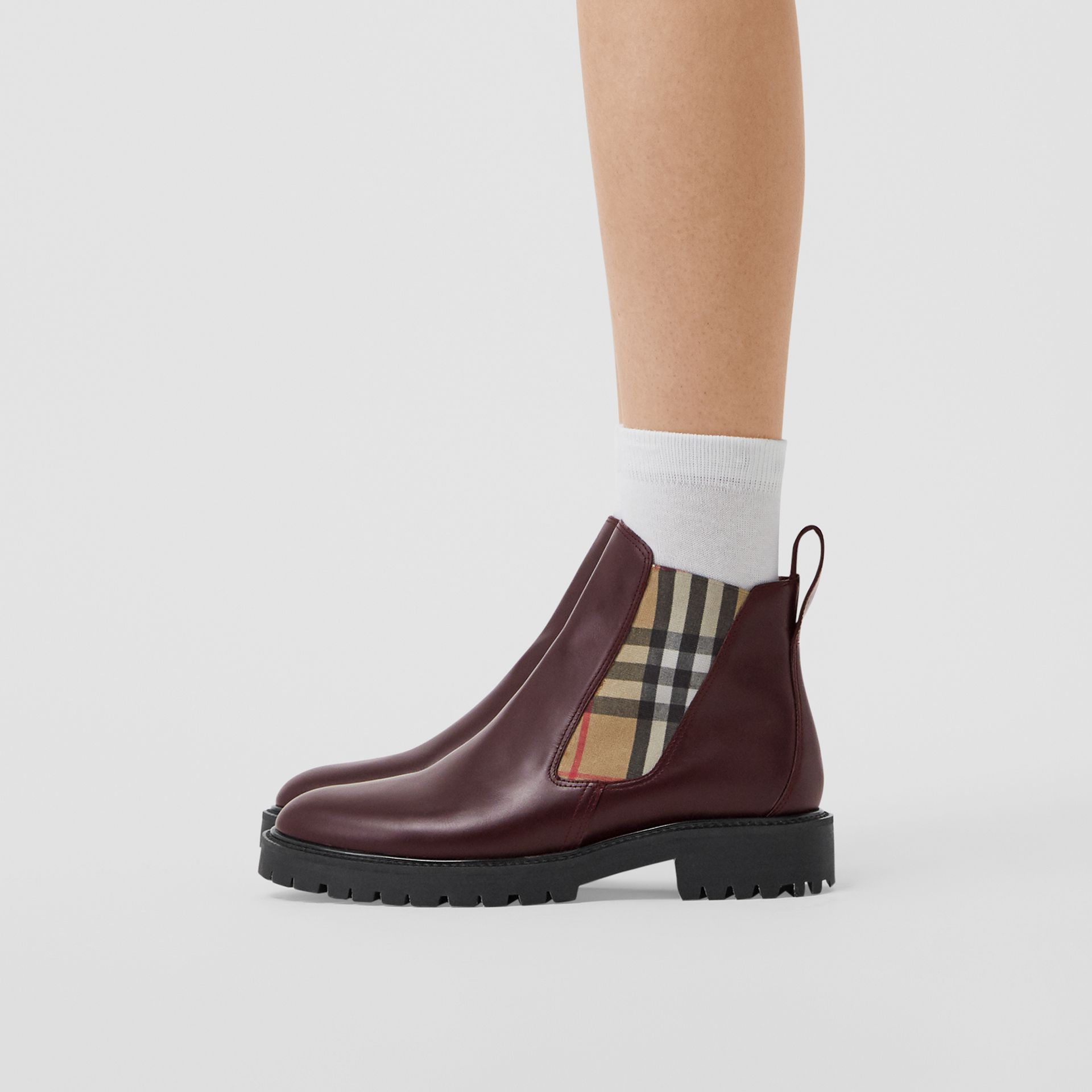 Vintage Check Detail Leather Chelsea Boots in Oxblood - Women | Burberry - gallery image 2