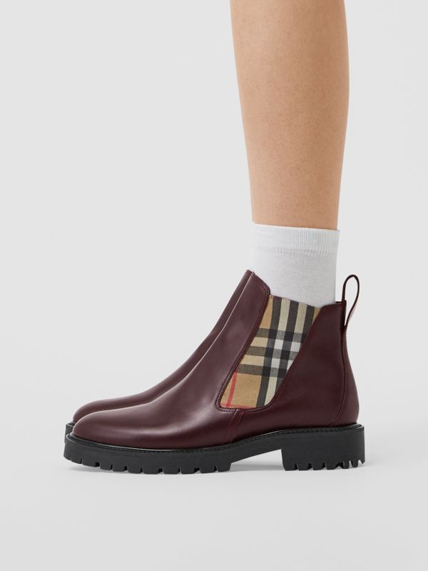 Vintage Check Detail Leather Chelsea Boots in Oxblood - Women | Burberry - cell image 2