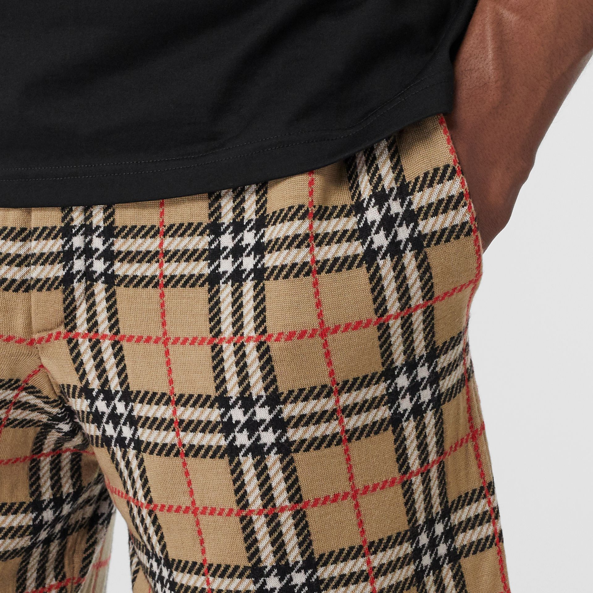 Check Merino Wool Drawcord Shorts in Archive Beige - Men | Burberry Australia - gallery image 1