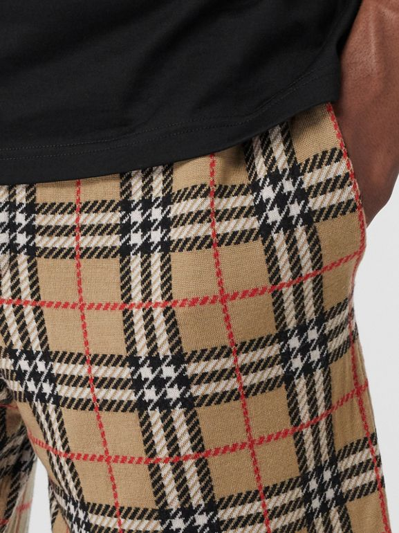 Check Merino Wool Drawcord Shorts in Archive Beige - Men | Burberry - cell image 1