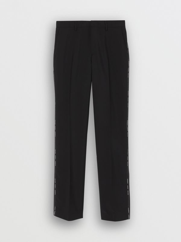 Classic Fit Logo Detail Wool Mohair Tailored Trousers in Black | Burberry Australia - cell image 3
