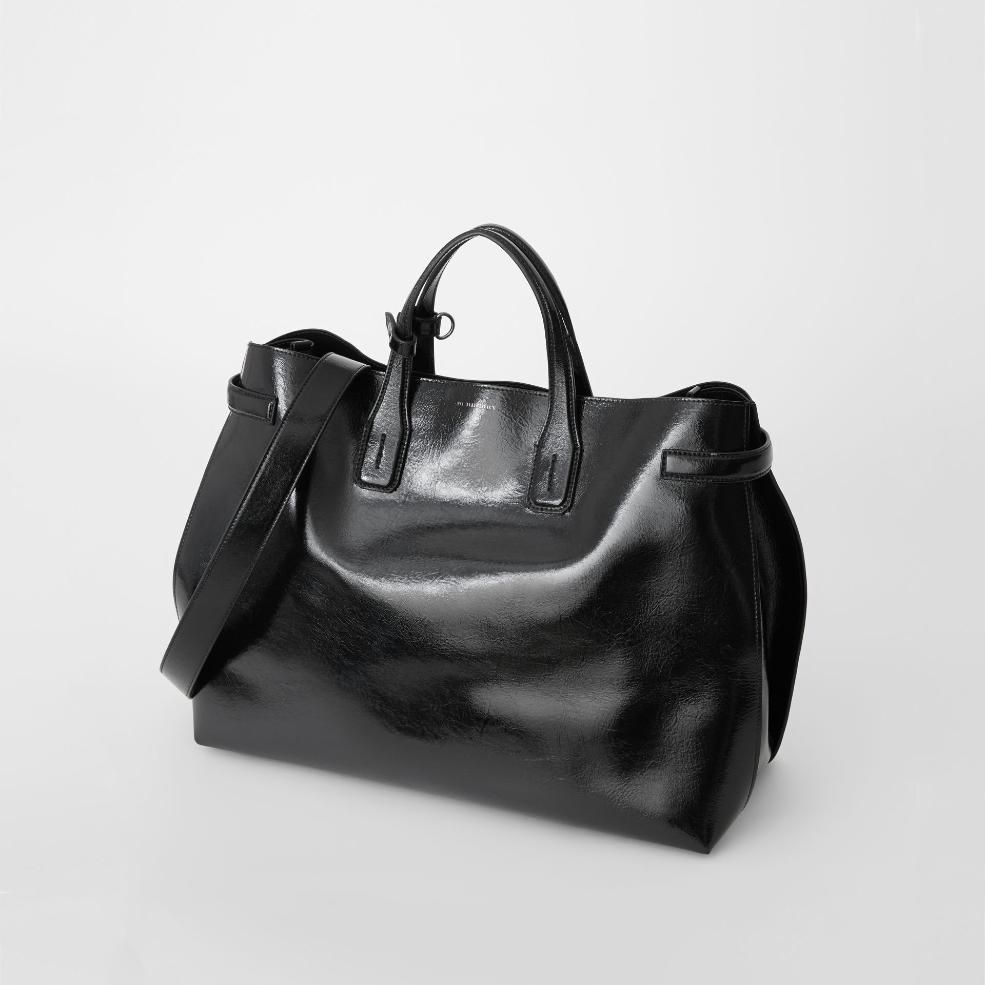 The Large Soft Leather Banner in Black - Women | Burberry United States - gallery image 3