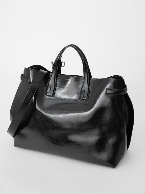 The Large Soft Leather Banner in Black - Women | Burberry United States - cell image 3