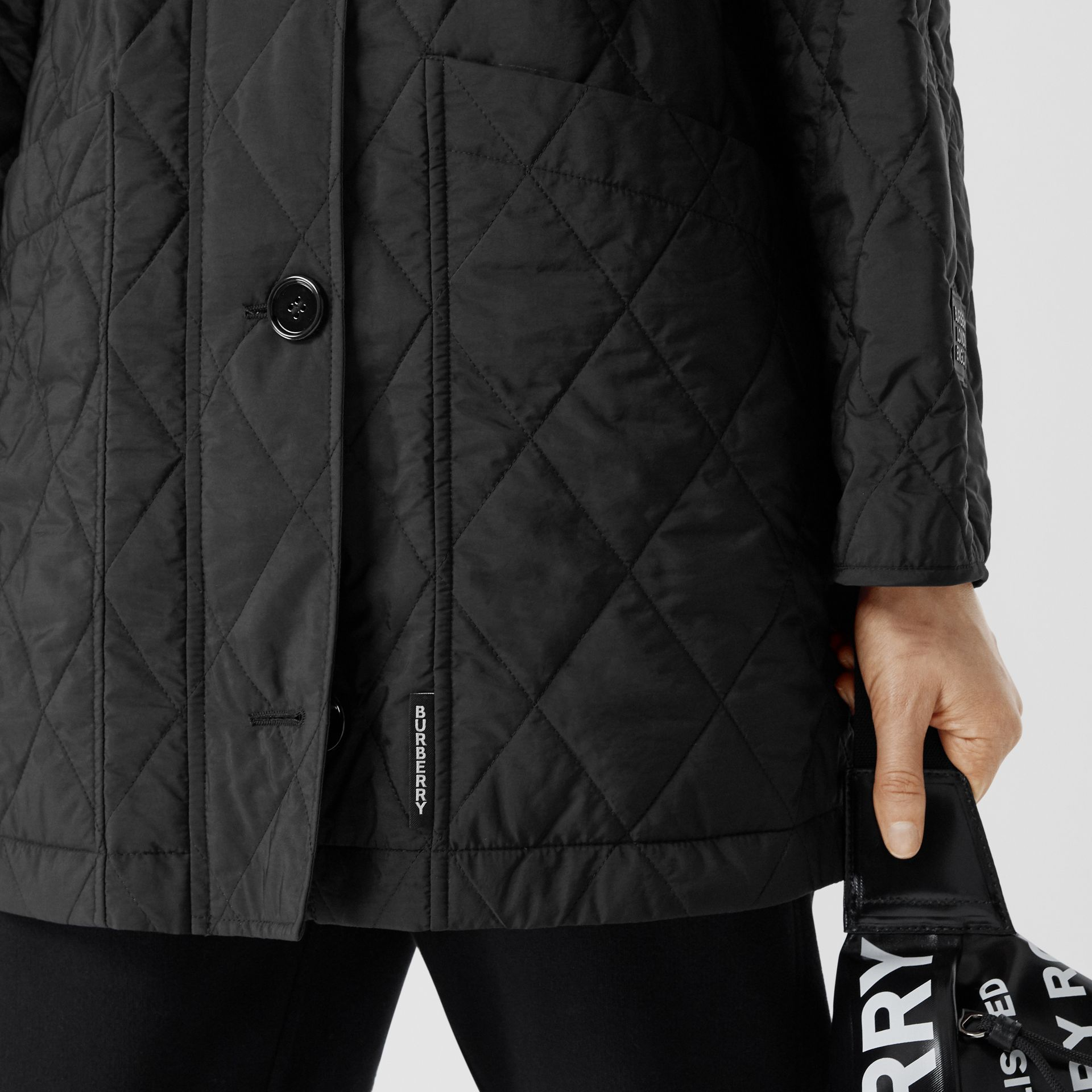 Diamond Quilted Thermoregulated Hooded Coat in Black - Women | Burberry - gallery image 4