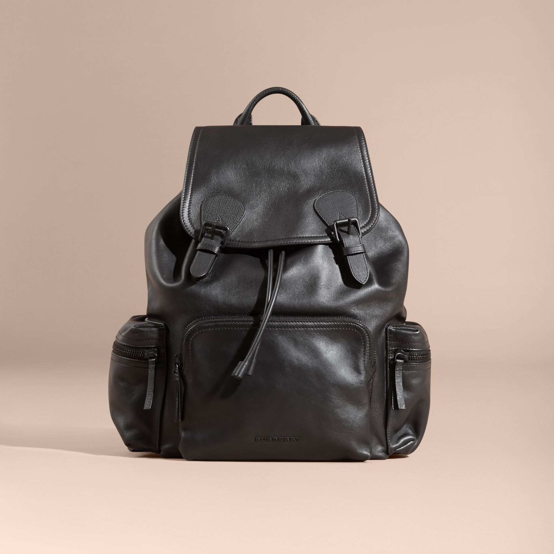 Black The Large Rucksack in Water-repellent Leather Black - gallery image 8