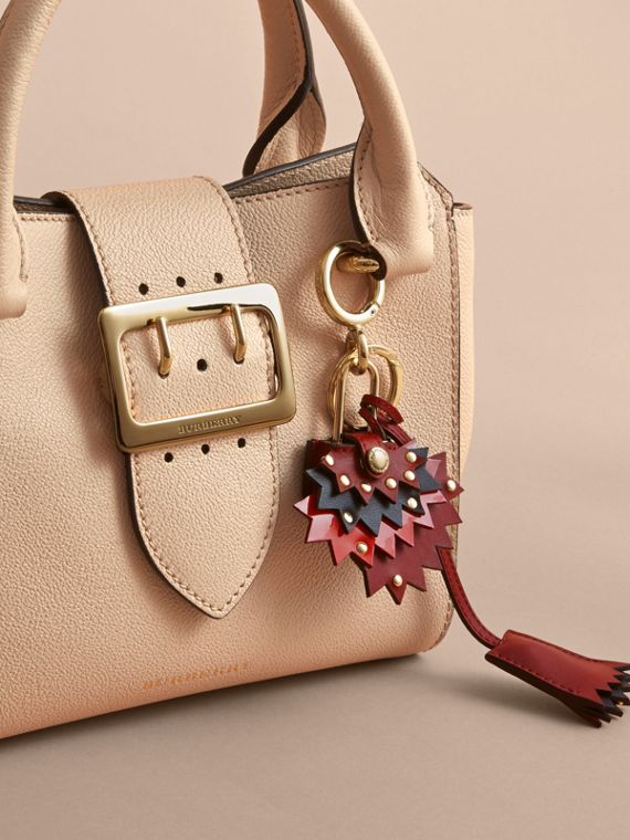 Beasts Leather Key Charm and Padlock in Crimson Red - Women | Burberry - cell image 2