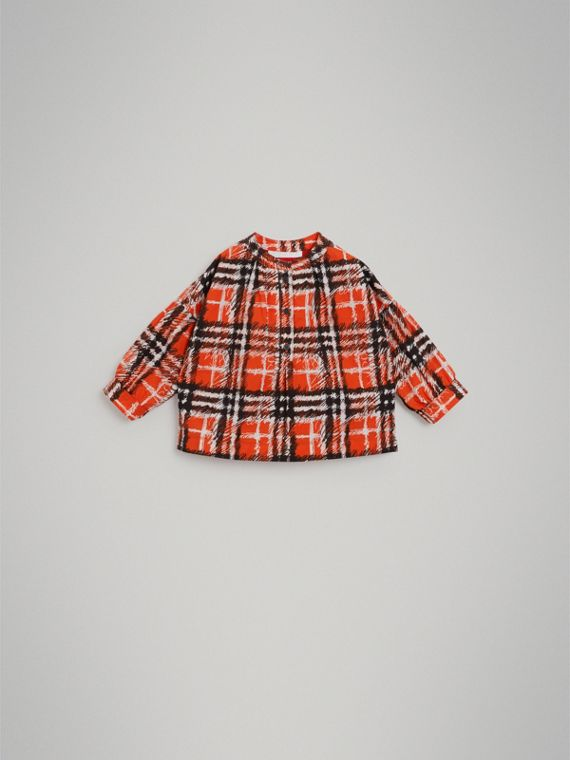 Scribble Check Print Cotton Shirt in Bright Red | Burberry Singapore - cell image 2
