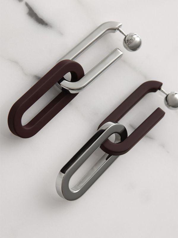 Rubberised and Palladium-plated Link Drop Earrings in Deep Claret - Women | Burberry - cell image 3
