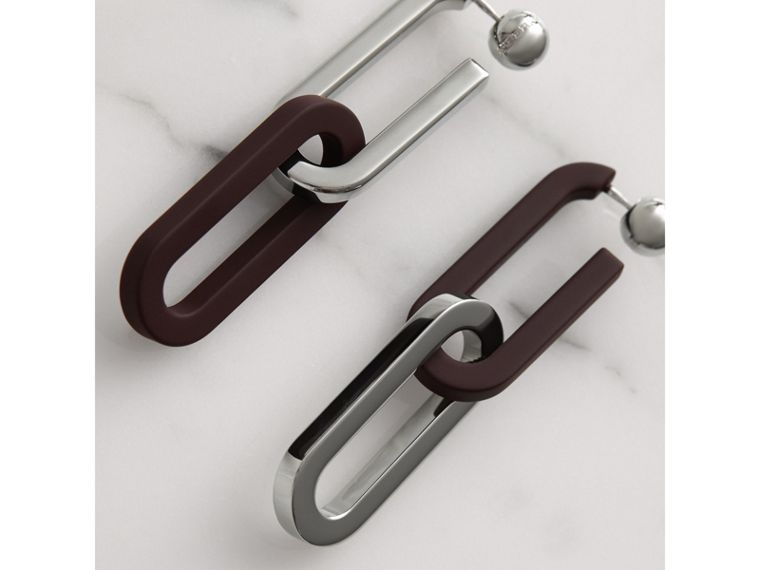 Rubberised and Palladium-plated Link Drop Earrings in Deep Claret - Women | Burberry Singapore - cell image 1