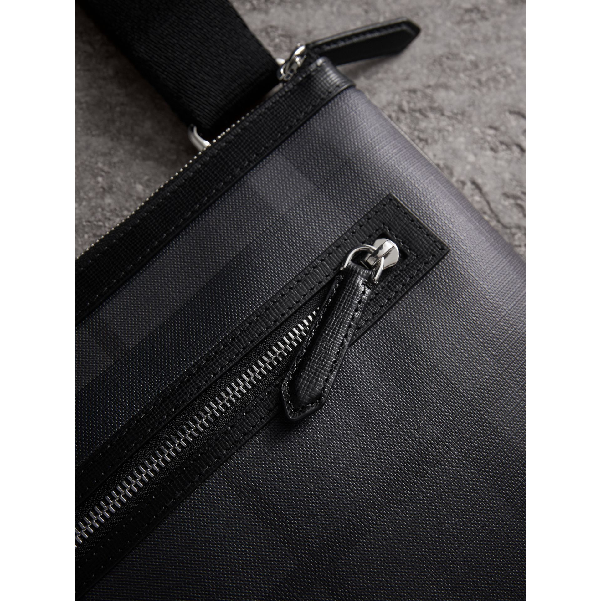 Leather Trim London Check Crossbody Bag in Charcoal/black - Men | Burberry United Kingdom - gallery image 1