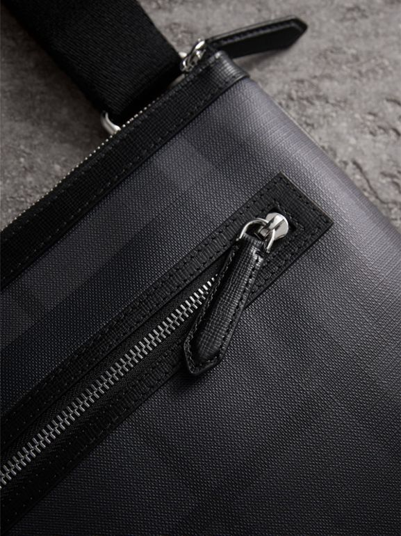 Leather Trim London Check Crossbody Bag in Charcoal/black - Men | Burberry - cell image 1