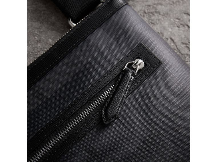 Leather Trim London Check Crossbody Bag in Charcoal/black - Men | Burberry Singapore - cell image 1