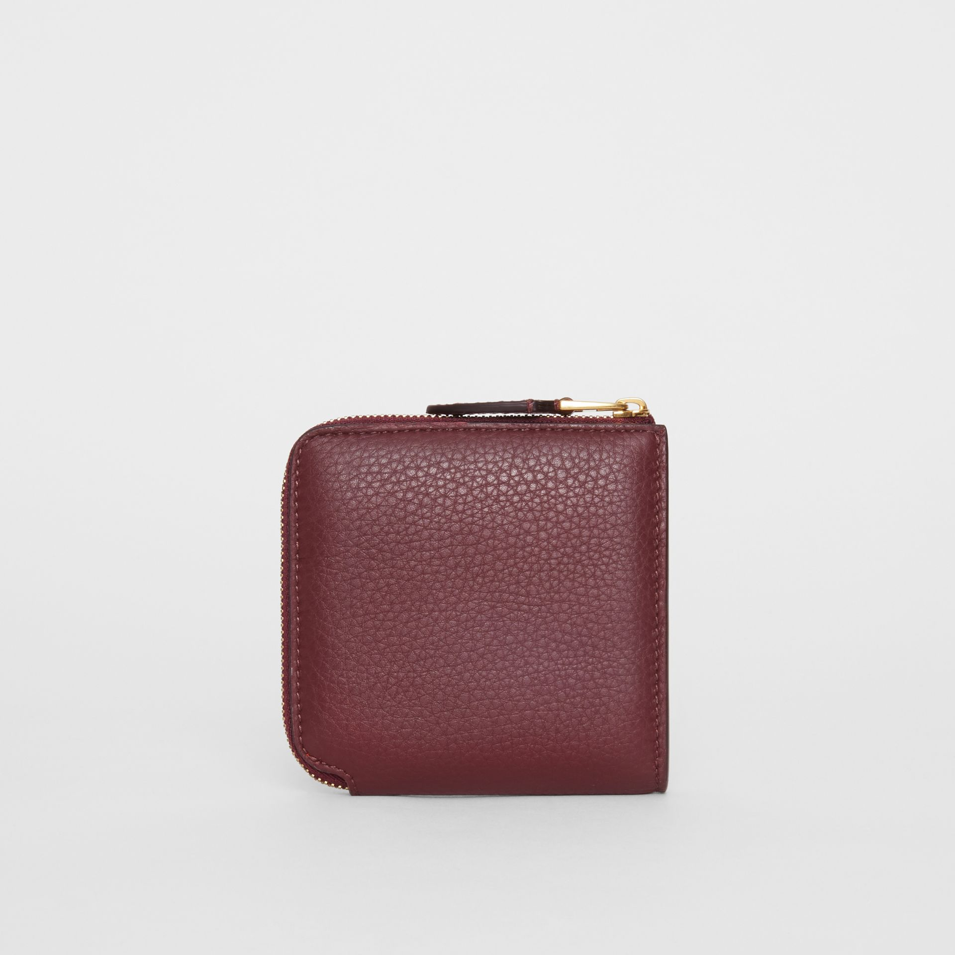 Grainy Leather Square Ziparound Wallet in Deep Claret - Women | Burberry United Kingdom - gallery image 5