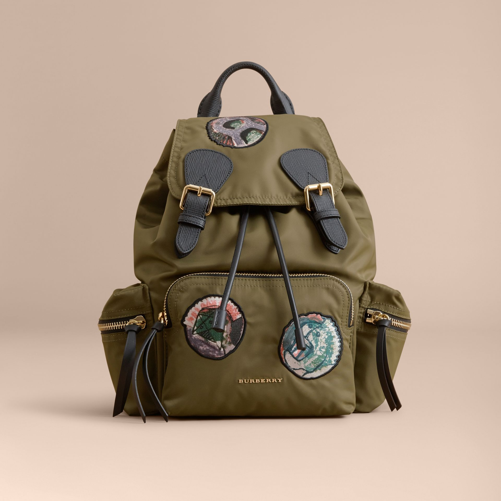 The Medium Rucksack in Technical Nylon with Pallas Heads Appliqué Canvas Green - gallery image 7