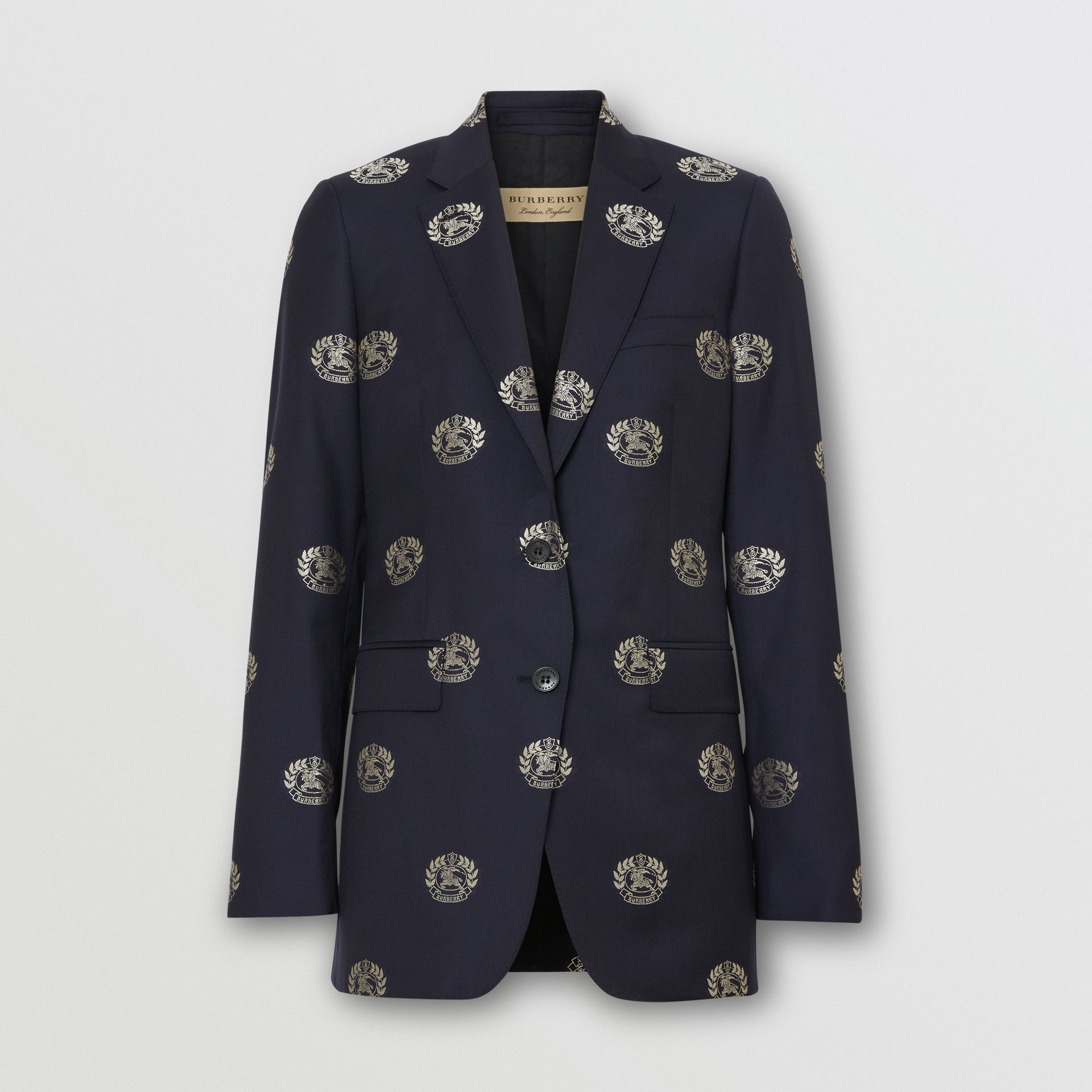 Fil Coupé Crest Wool Tailored Jacket in Midnight Blue - Women | Burberry - gallery image 3