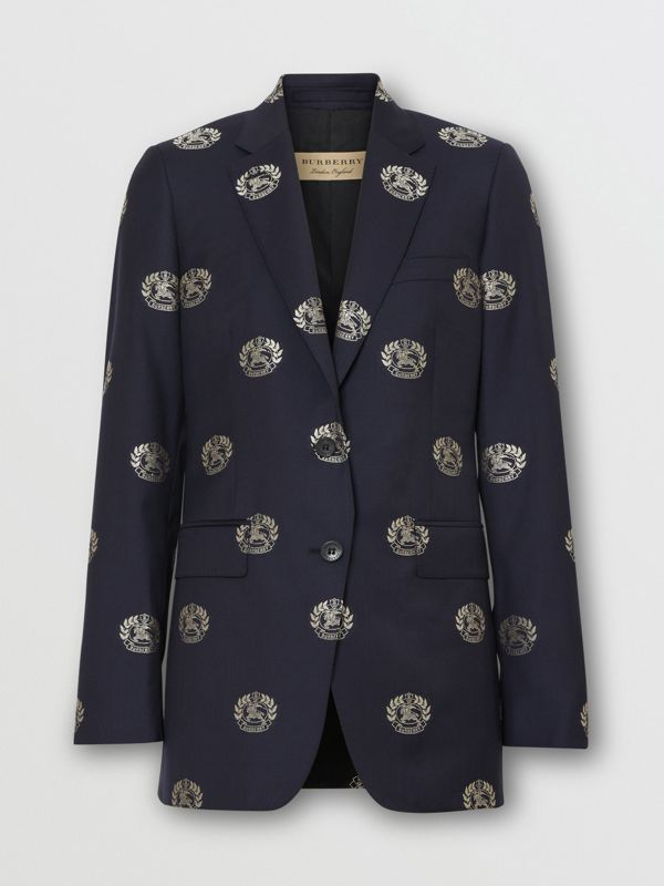 Fil Coupé Crest Wool Tailored Jacket in Midnight Blue - Women | Burberry - cell image 3