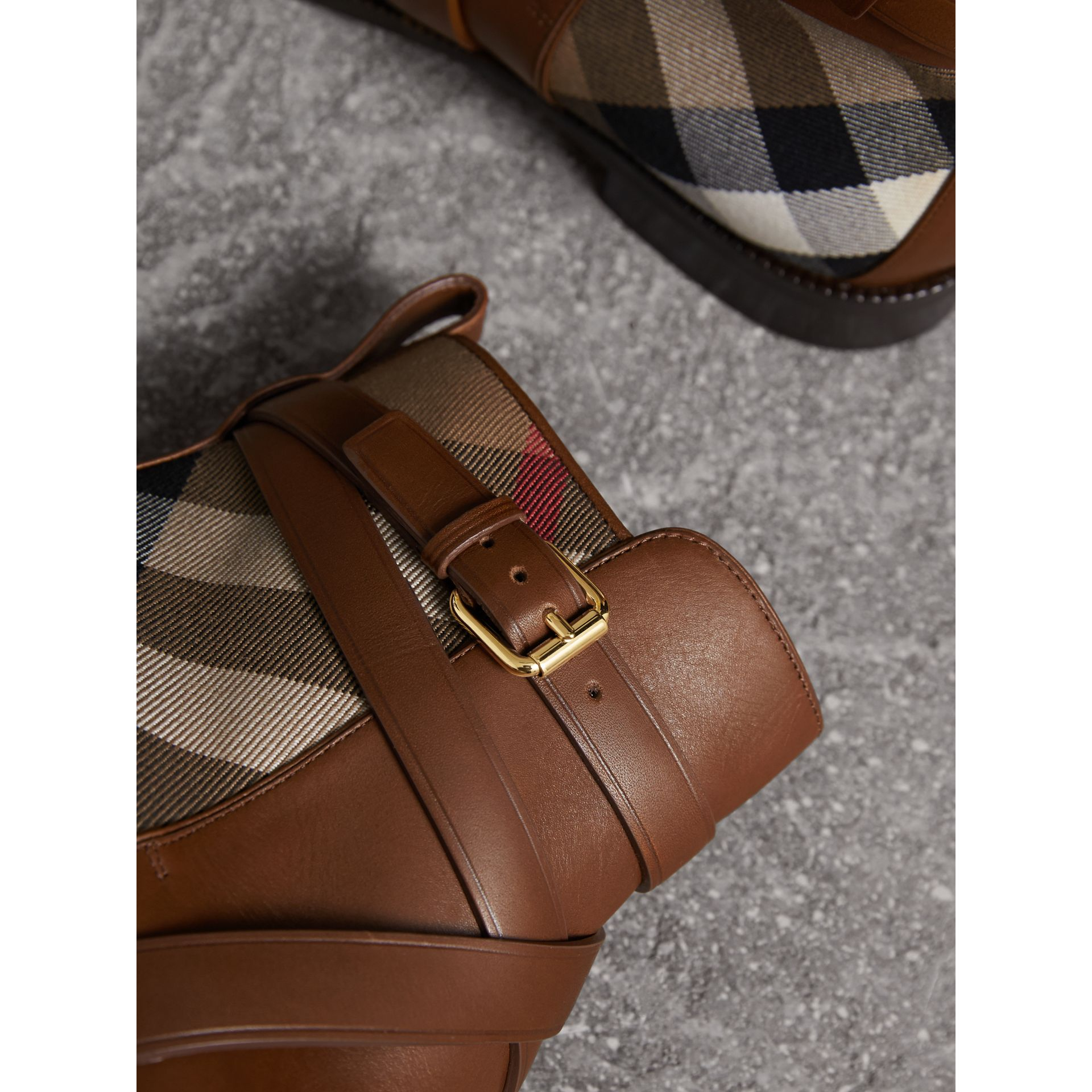 Strap Detail House Check and Leather Ankle Boots in Bright Camel - Women | Burberry Australia - gallery image 1