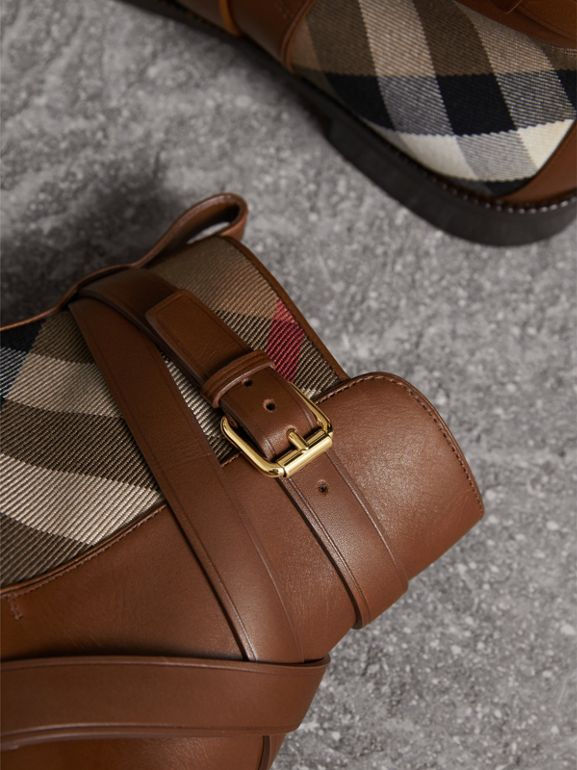 Strap Detail House Check and Leather Ankle Boots in Bright Camel - Women | Burberry - cell image 1