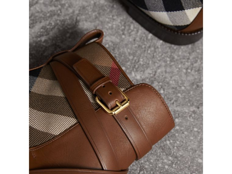 Strap Detail House Check and Leather Ankle Boots in Bright Camel - Women | Burberry Australia - cell image 1