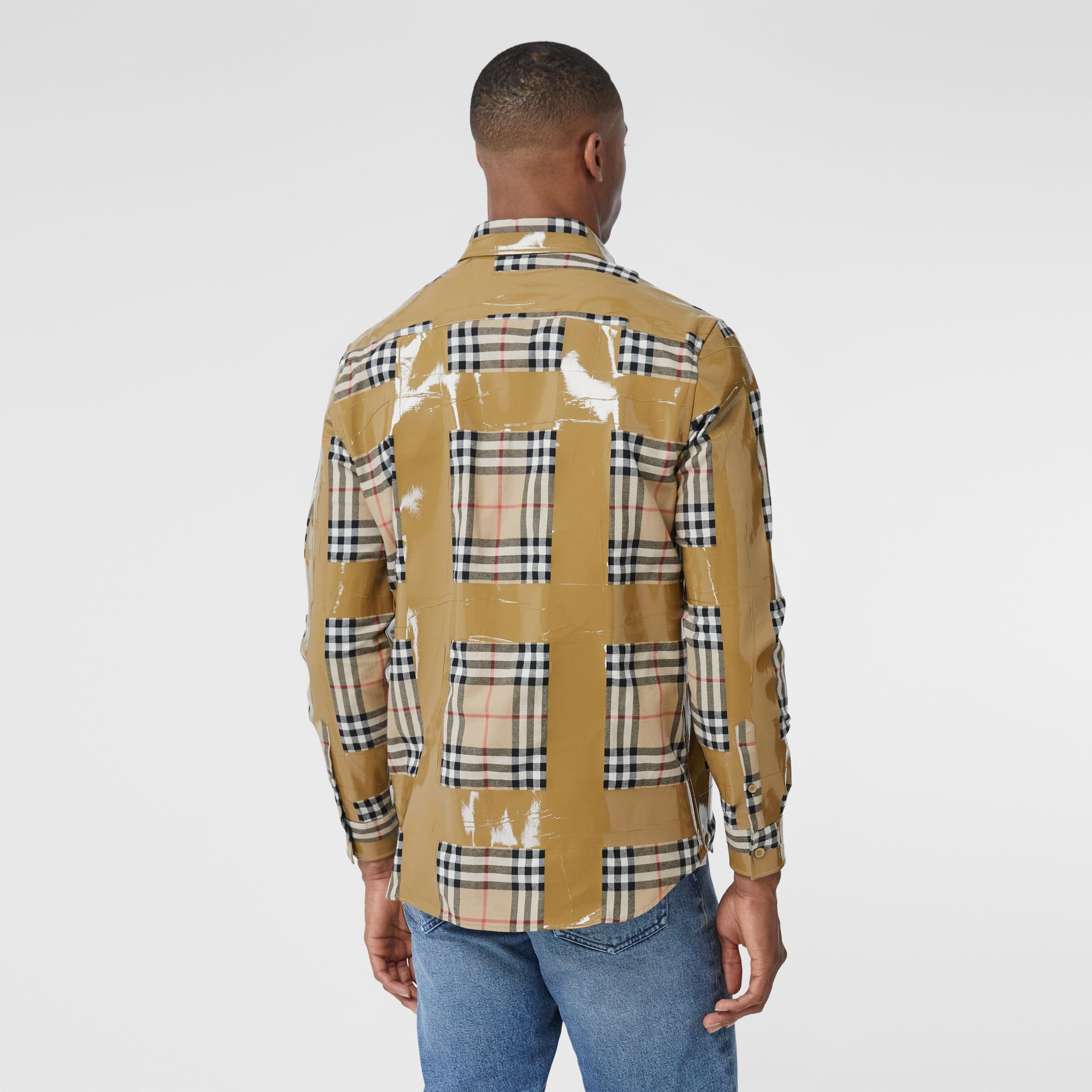 Tape Detail Vintage Check Cotton Oversized Shirt in Archive Beige - Men | Burberry United Kingdom - gallery image 2