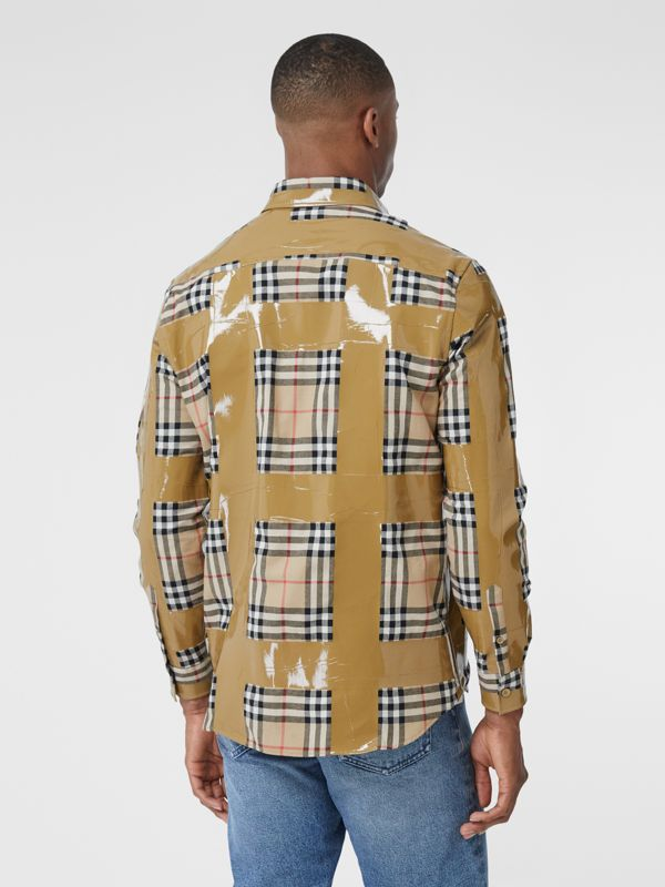 Tape Detail Vintage Check Cotton Oversized Shirt in Archive Beige - Men | Burberry United Kingdom - cell image 2