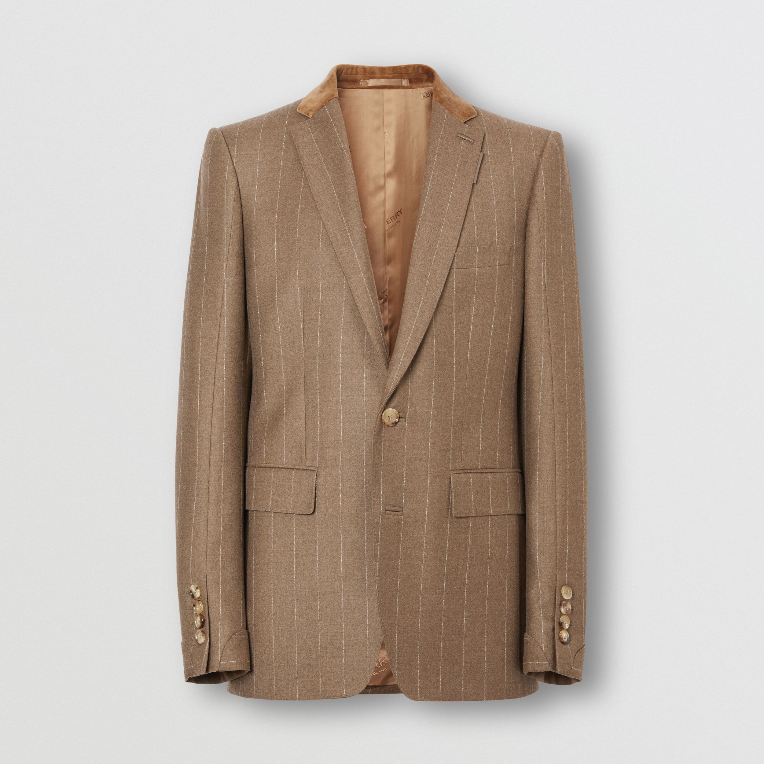 Classic Fit Velvet Trim Wool Cashmere Tailored Jacket in Dark Tan - Men | Burberry - 4