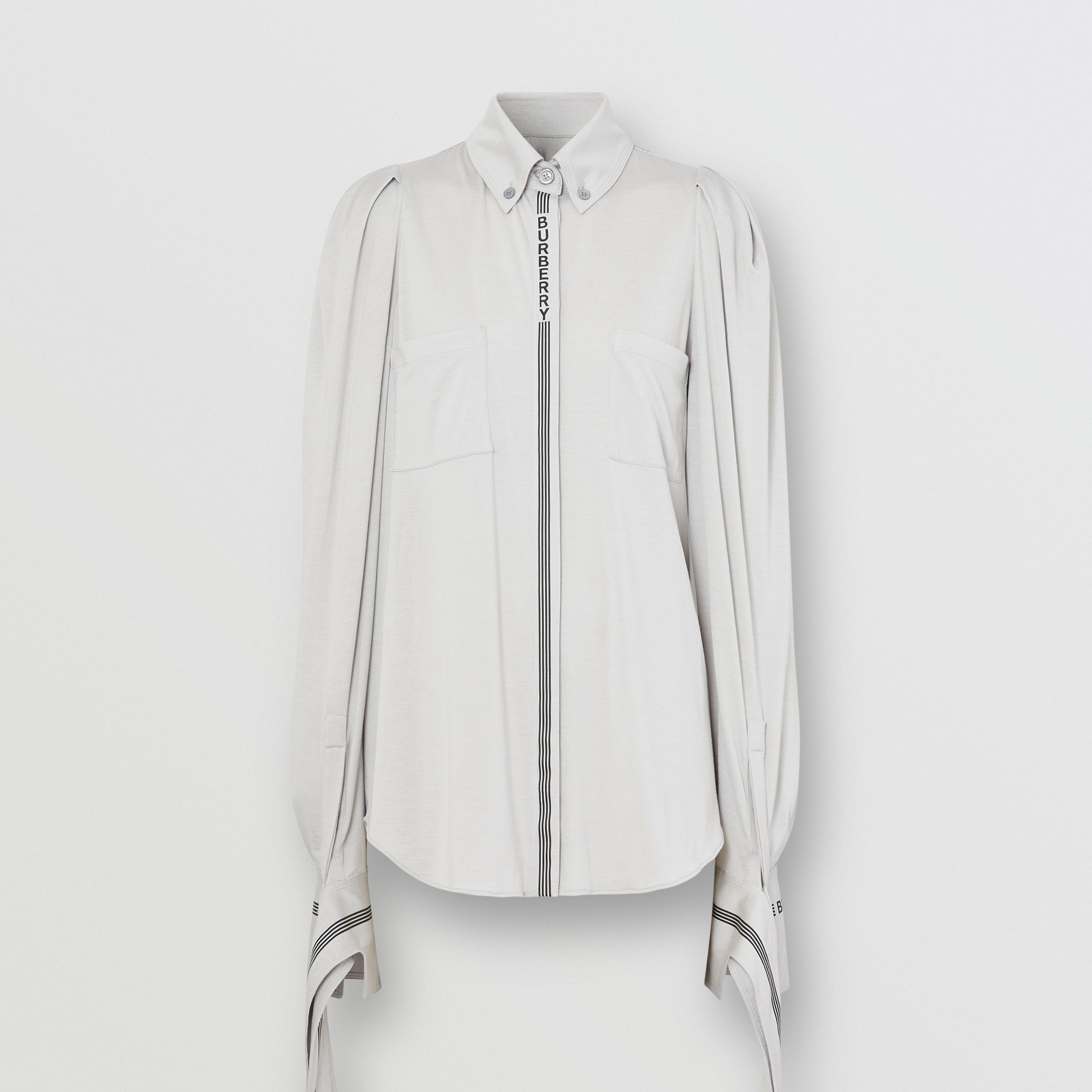 Logo Print Silk Wool Jersey Shirt in Grey Melange - Women | Burberry - 4