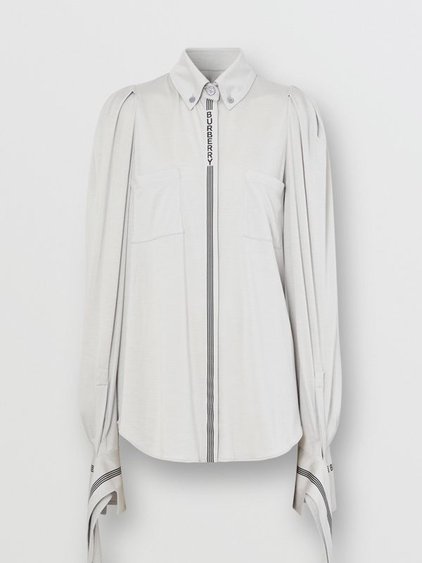 Logo Print Silk Wool Jersey Shirt in Grey Melange - Women | Burberry - cell image 3