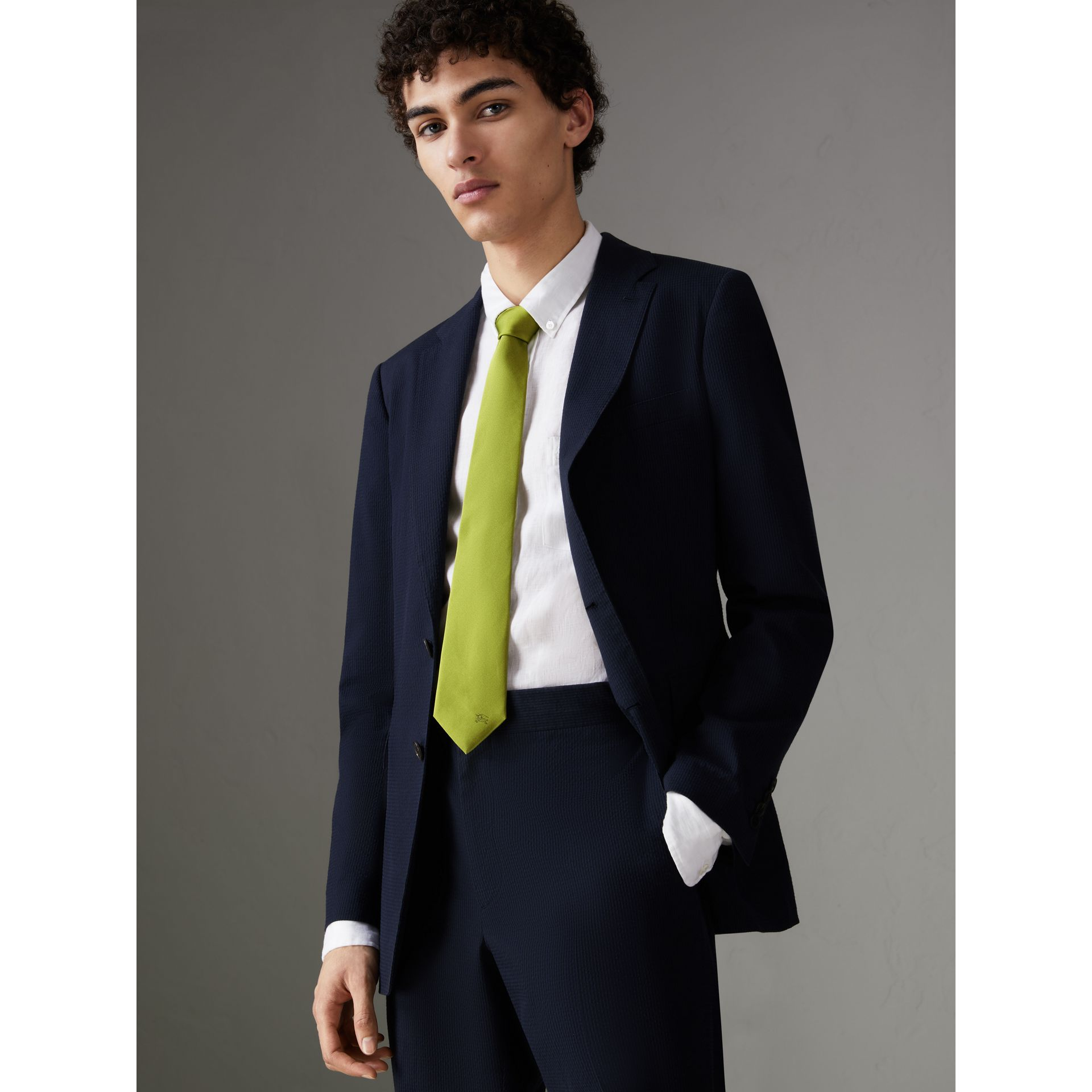 Modern Cut Silk Tie in Bright Lime - Men | Burberry - gallery image 2