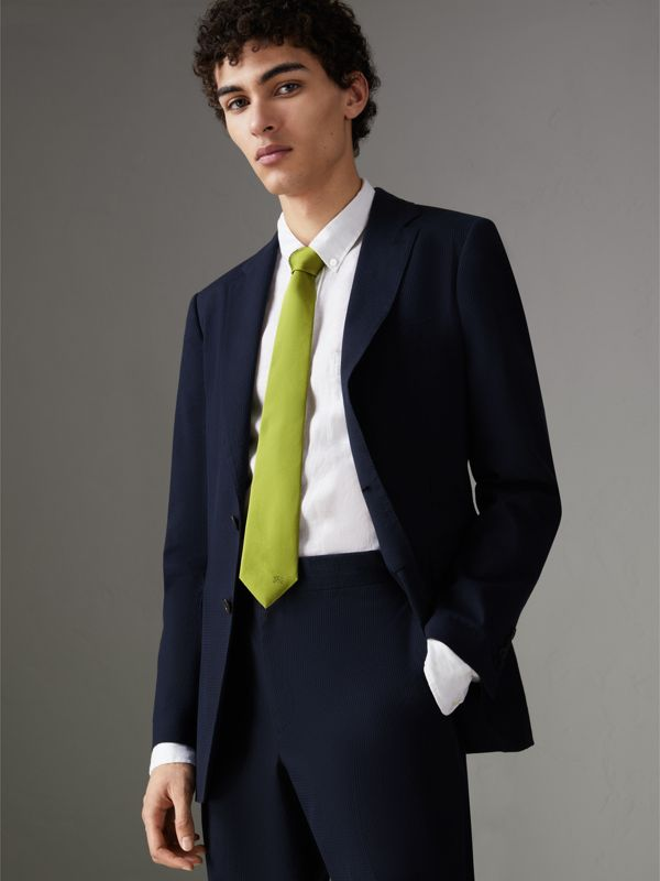 Modern Cut Silk Tie in Bright Lime - Men | Burberry - cell image 2