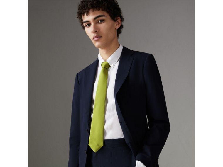 Modern Cut Silk Tie in Bright Lime - Men | Burberry United Kingdom - cell image 2