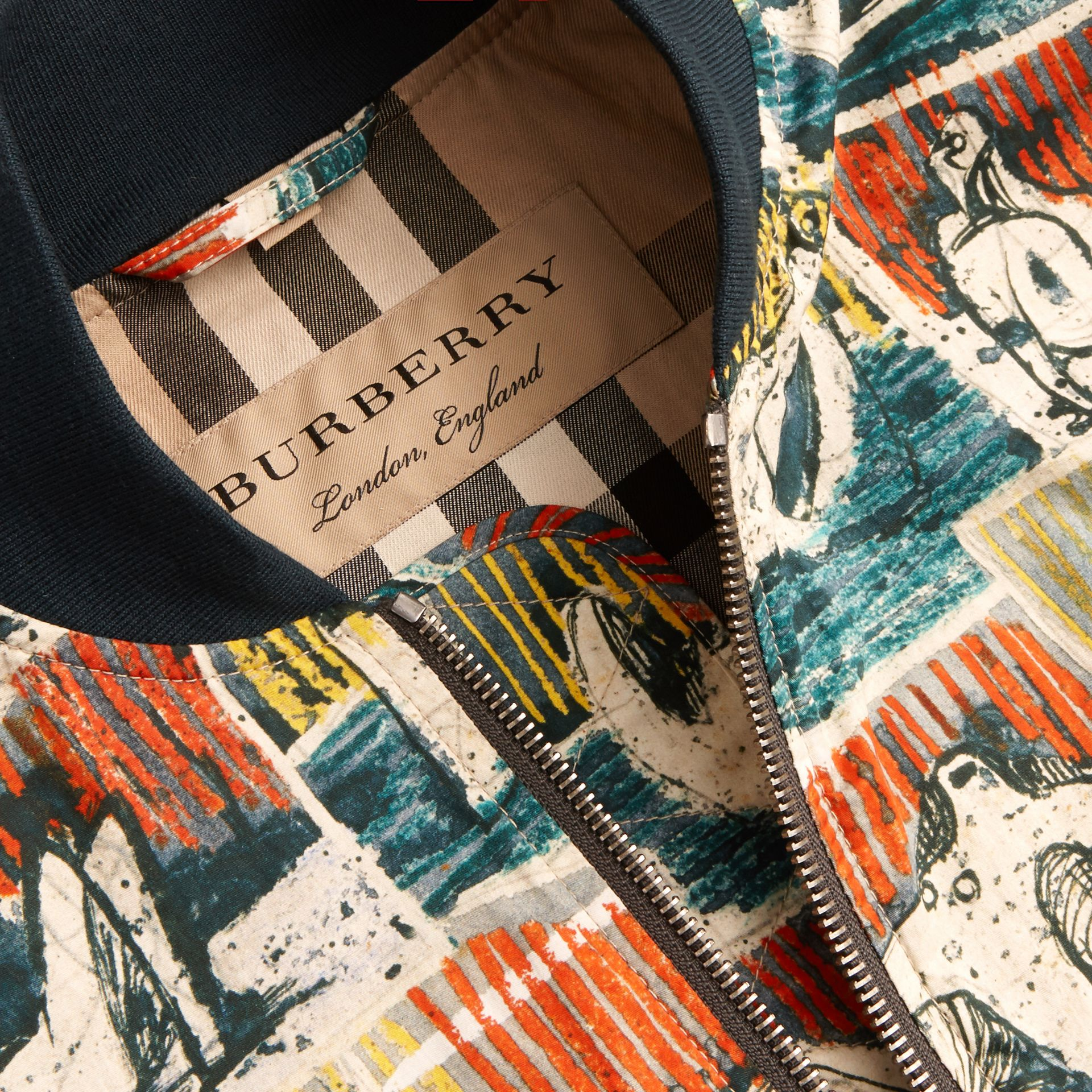 Reclining Figures Print Cotton Bomber Jacket in Stone Blue - Men | Burberry - gallery image 2
