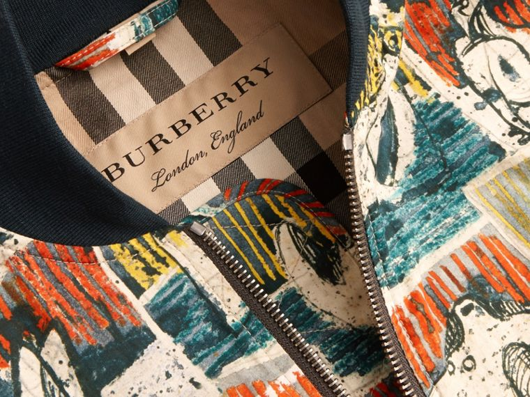 Reclining Figures Print Cotton Bomber Jacket in Stone Blue - Men | Burberry - cell image 1