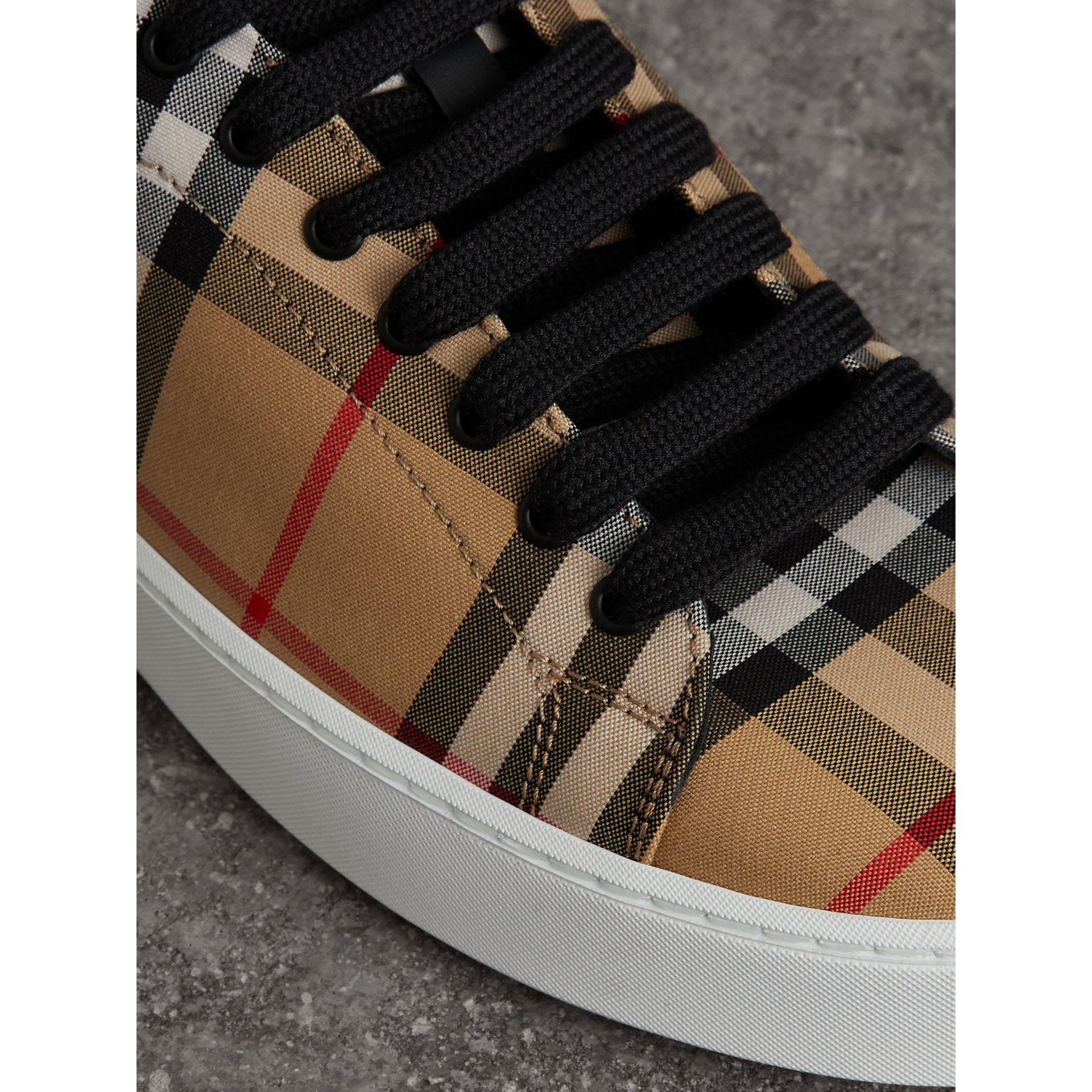 Vintage Check and Leather Sneakers in Antique Yellow - Women | Burberry Hong Kong - gallery image 1