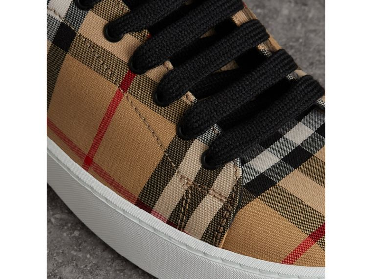 Vintage Check and Leather Sneakers in Antique Yellow - Women | Burberry Hong Kong - cell image 1