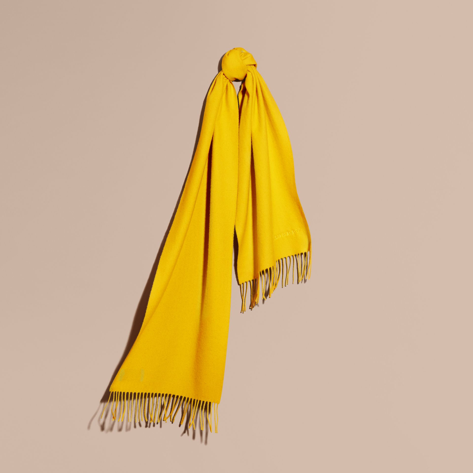 The Classic Cashmere Scarf in Gorse Yellow | Burberry Australia - gallery image 6