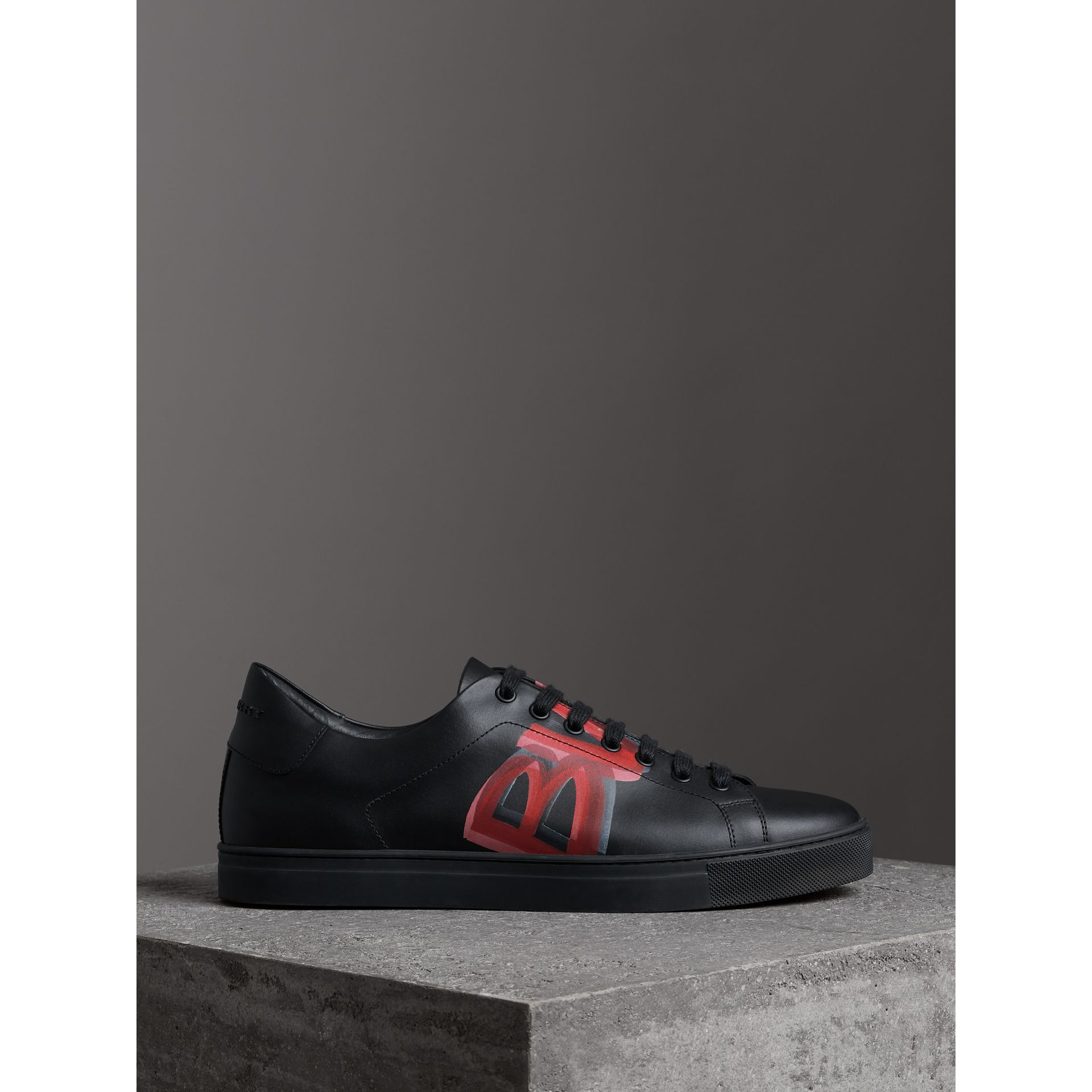 Logo Print Leather Sneakers in Black/bright Red - Men | Burberry Canada - gallery image 4