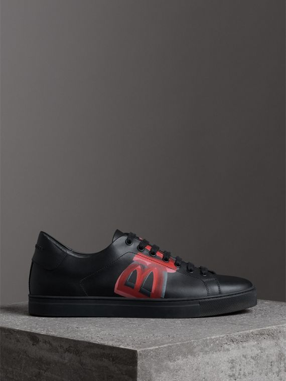 Logo Print Leather Sneakers in Black/bright Red