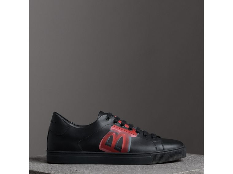 Logo Print Leather Sneakers in Black/bright Red - Men | Burberry - cell image 4