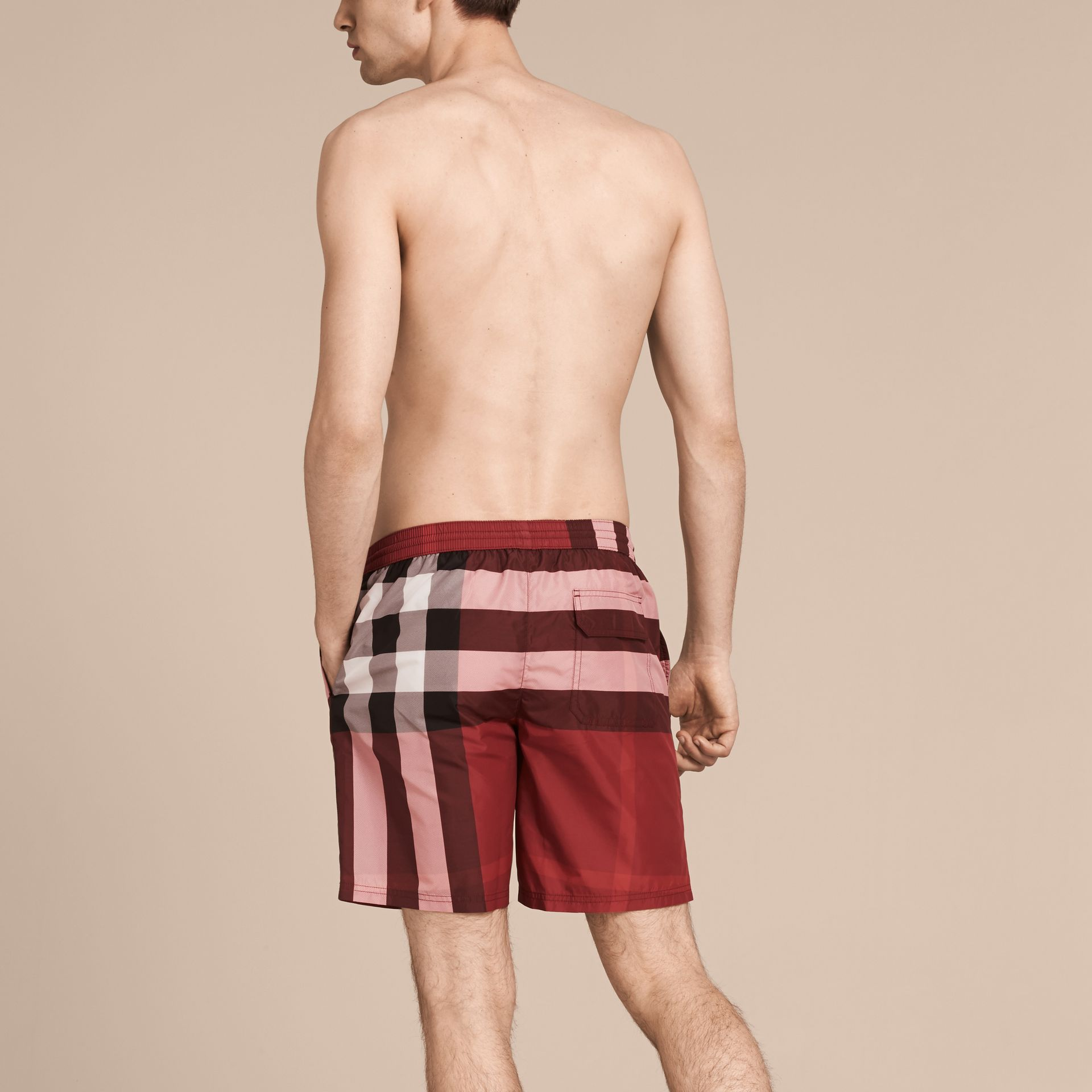 Check Swim Shorts in Parade Red - Men | Burberry - gallery image 3