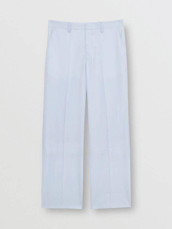 Tumbled Wool Wide-leg Trousers in Pale Blue - Men | Burberry Singapore - cell image 3
