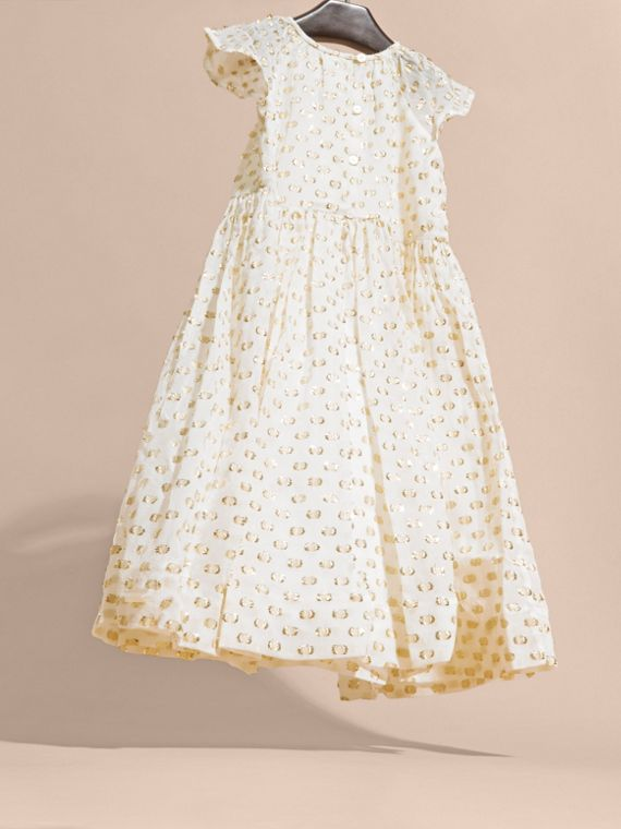 Fil Coupé Dress in White/gold - cell image 3