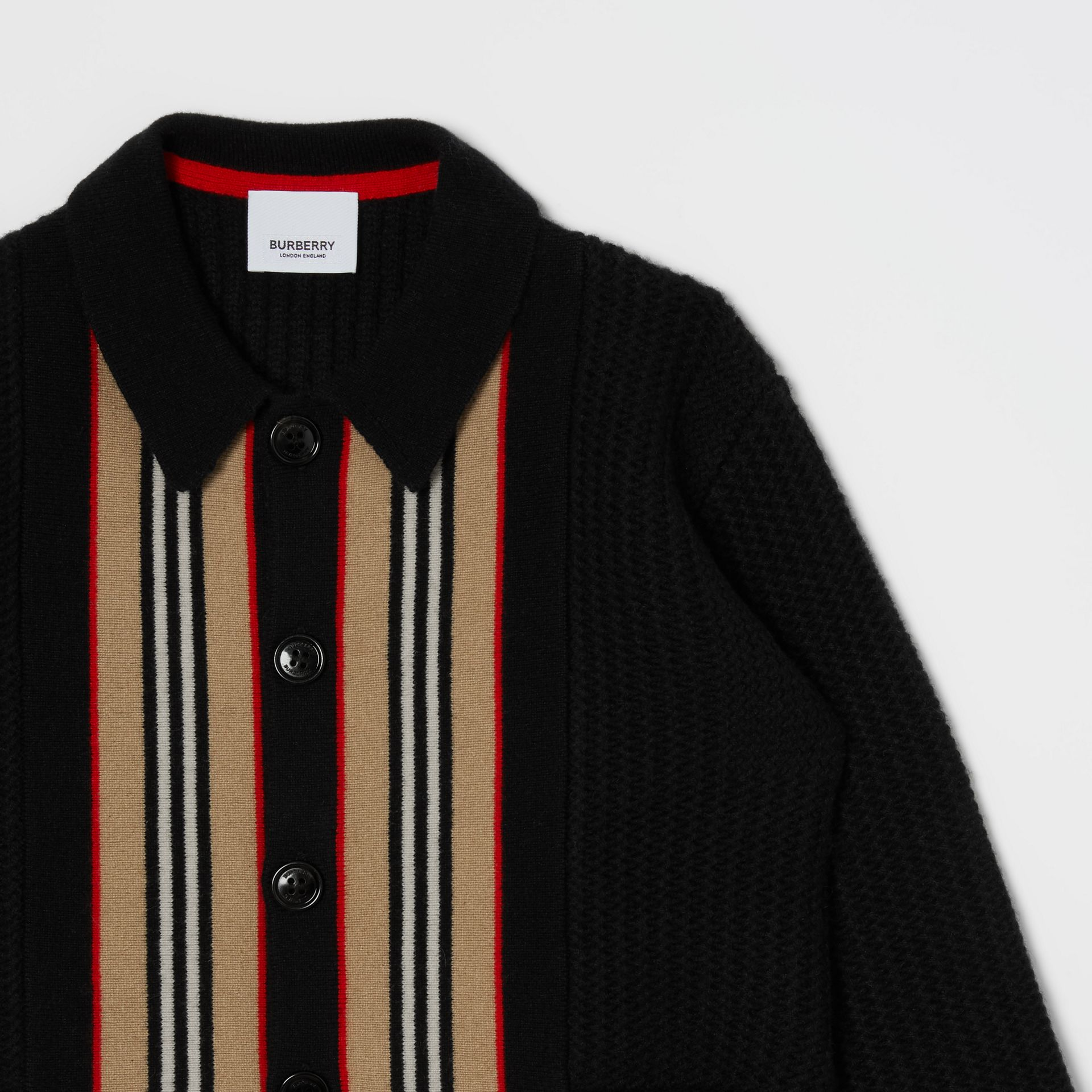 Icon Stripe Detail Wool Cashmere Cardigan in Black | Burberry Singapore - gallery image 5