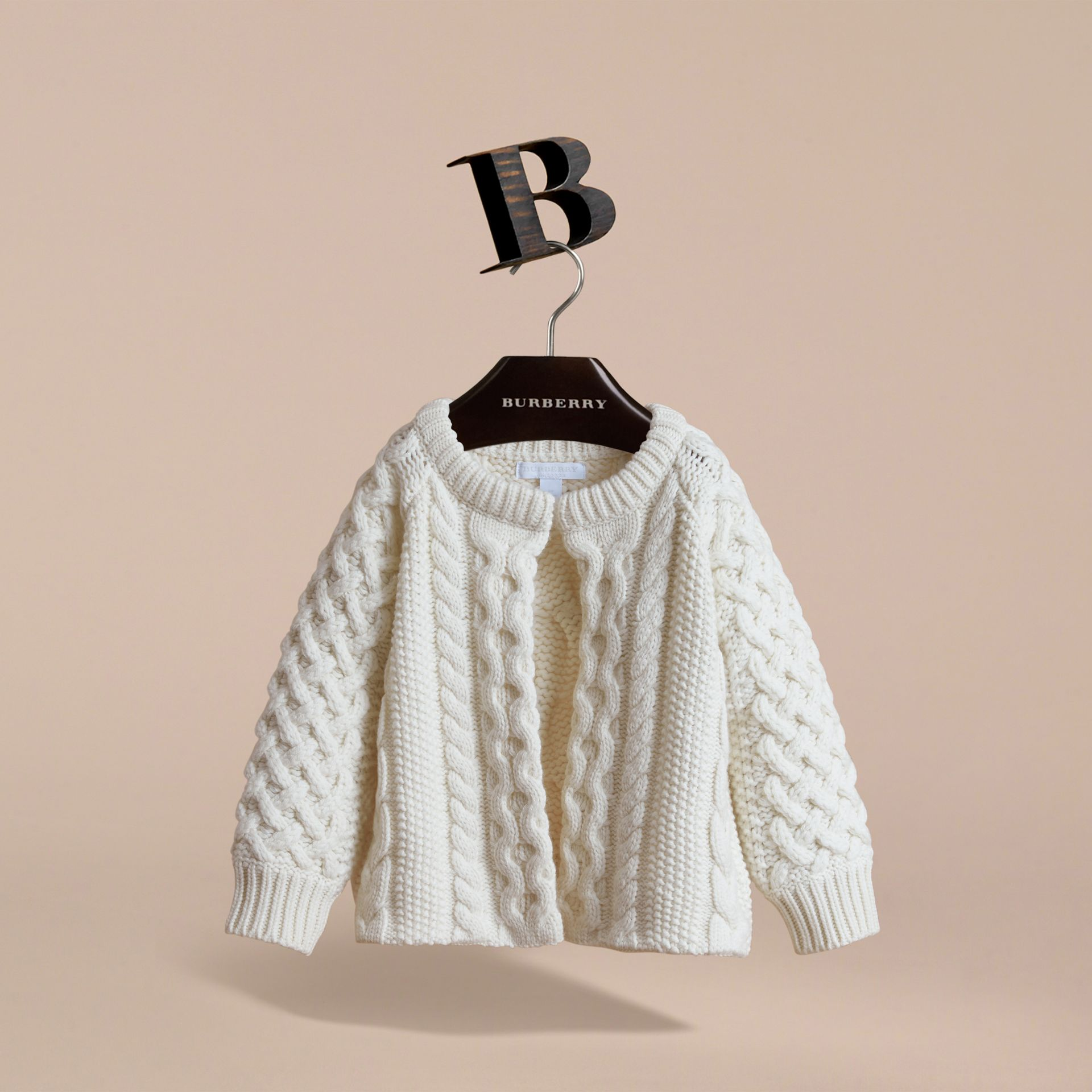 Cable Knit Wool Cashmere Cardigan | Burberry - gallery image 3