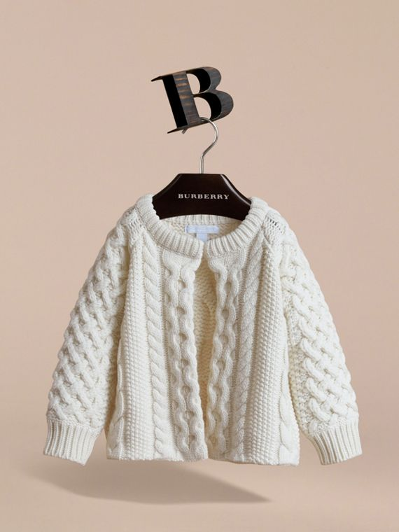 Cable Knit Wool Cashmere Cardigan | Burberry Australia - cell image 2