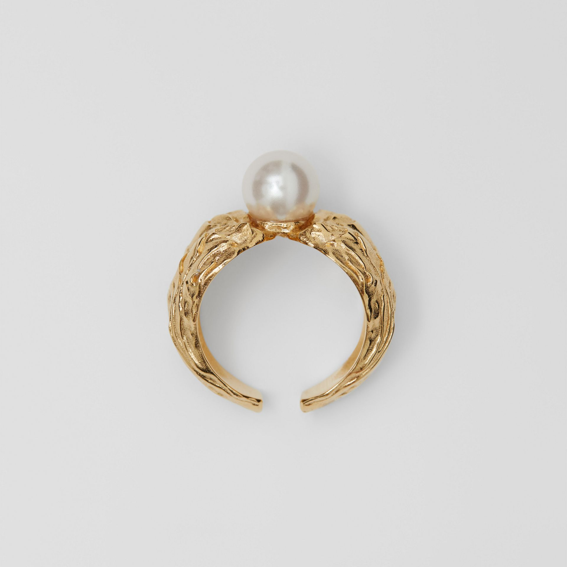 Gold-plated Resin Pearl Ring in Light Gold/pearl | Burberry - gallery image 0