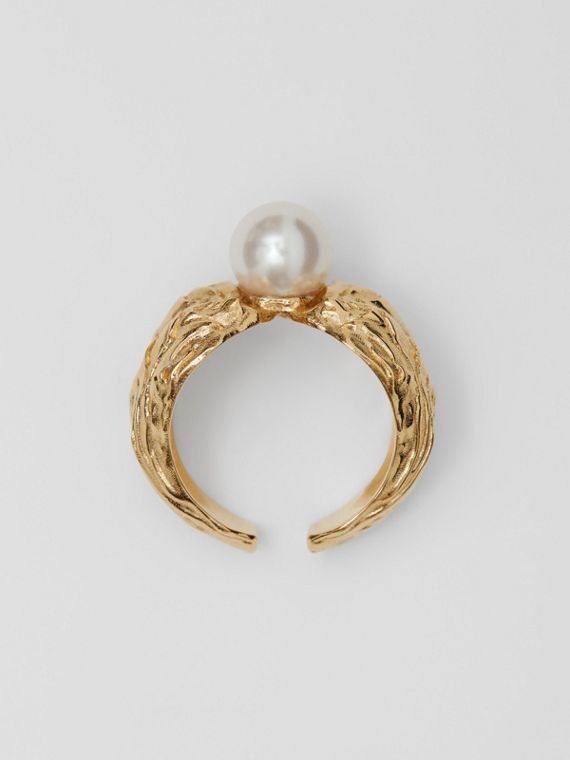 Gold-plated Resin Pearl Ring in Light Gold/pearl
