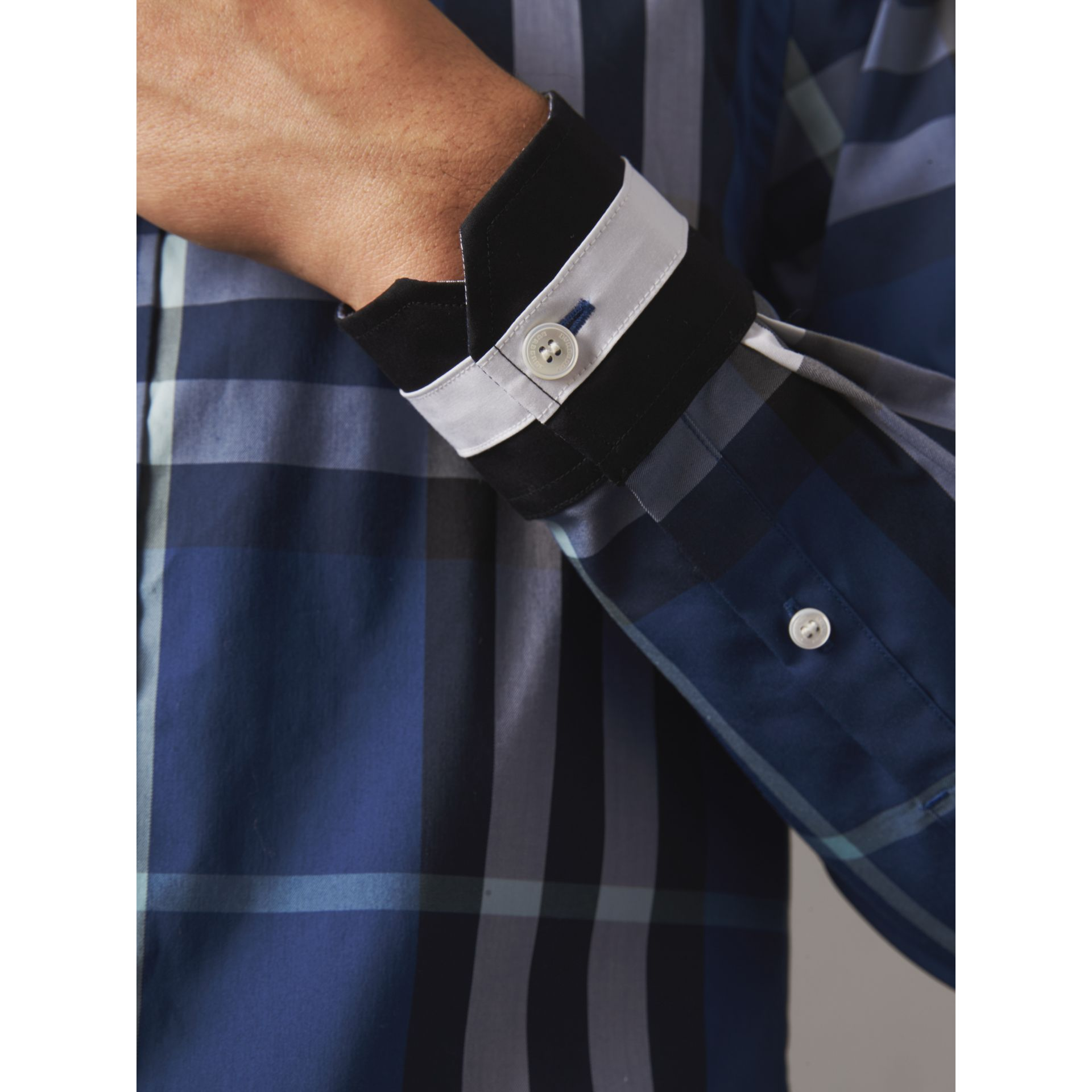 Striped Cuff Check Cotton Blend Shirt in Cobalt Blue - Men | Burberry Singapore - gallery image 1