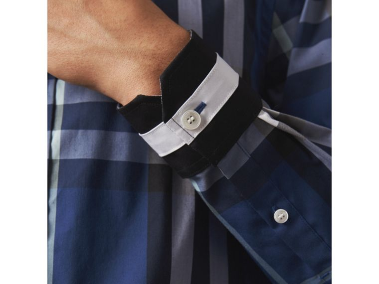 Striped Cuff Check Cotton Blend Shirt in Cobalt Blue - Men | Burberry Singapore - cell image 1