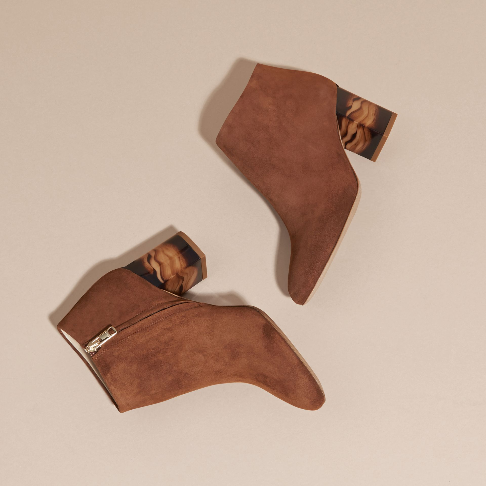 Marron girofle Bottines en cuir velours - photo de la galerie 3